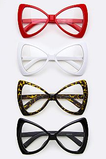 Oversized Butterfly Clear Lens Optical Glasses