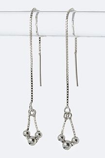 Sterling Silver Tri-Ball Drop  Pull Through Earrings