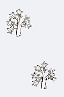 Sterling Silver & CZ Tree Studs