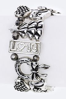 Mix X'mas Charms Stretch Bracelet