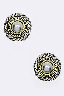 Designed 2 Tone Post Earrings