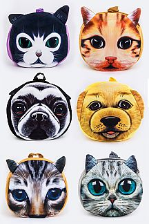 Assorted Kitty & Puppy Print Backpack Set