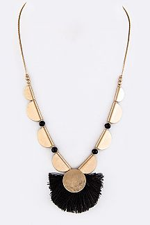 Metal Disks & String Fan Adjustable Necklace