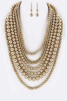 Mix Metal Beads Layer Necklace Set
