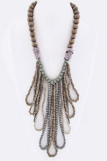 Looped Mix Beads Bib Necklace