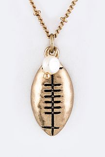 Football Pendant Necklace Set