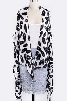 Feather Print Drapey Vest