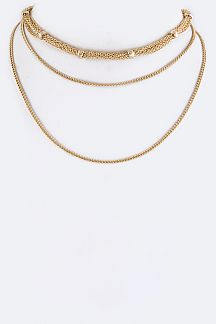 Mix Chain Layered Choker Necklace
