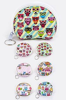 Comic Owl Print Coin Purses Set