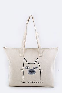 Comic Cat Canvas Tote