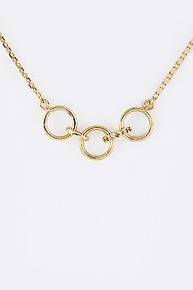 CZ & Linked Hoops Necklace