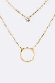 CZ & Hoop Charms Layer Necklace