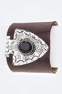 Paved Stone Arrowhead LEather Cuff