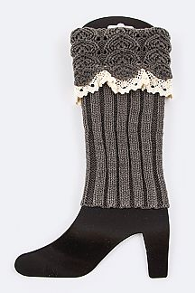 Textured Knit Vintage Lace Leg Warmers
