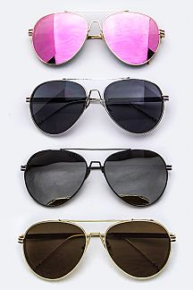 French Tricolor Temple Aviator Sunglasses