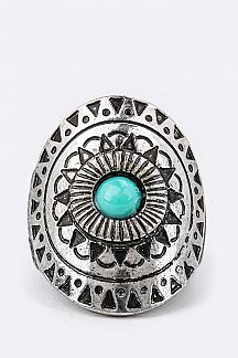 Turquoise Embossed Stretch Ring