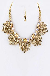 Mix Crystal Leafs Statement Necklace Set
