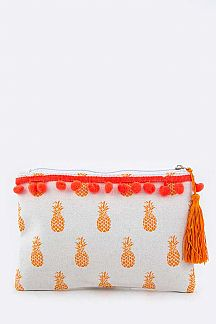 Pineapple Pompom Canvas Pouch