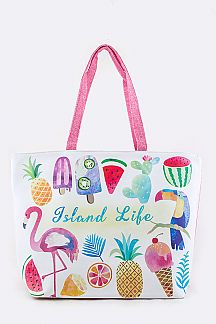 Island Life Printed Summer Tote
