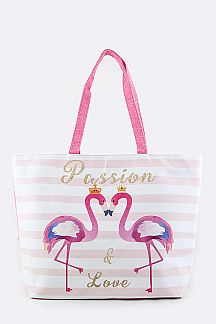 Flamingo Love Fashion Summer Tote