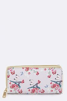 Flower & Eiffele Tower Print Wallet