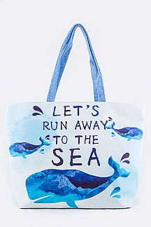 To The Sea Print Summer Tote