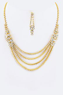 Layered Crystals Statement Necklace Set