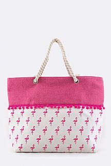 Flamingo PomPom Canvas Tote