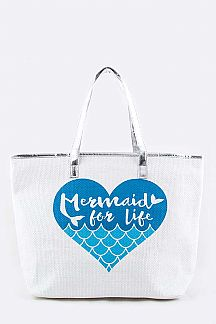 Mermaid Straw Summer Tote