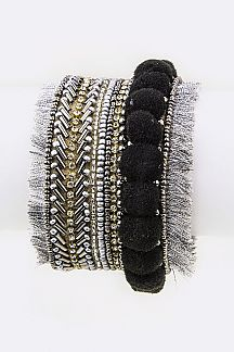 Beaded Pompom Tassel Adjustable Cuff