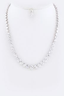 Cubic Zirconia Teardrop Statement Necklace Set