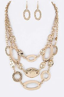 Mix Metal Hoops & Pebbles Layer Statement Necklace Set