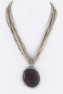 Layer Beads & Stone Pendant Necklace