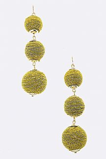 Silk Yarn Ball Drop Earrings