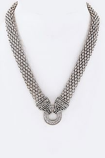 Hoop Pave CZ Hinge Popcorn Chain Necklace