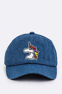 Unicorn Embroidery Denim Cap
