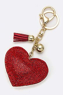 Crystal Heart Key Charm