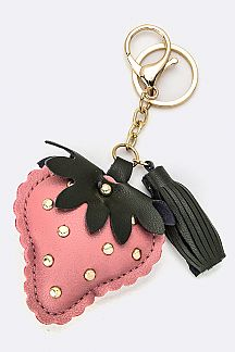 Studded Strawberry Key Charm
