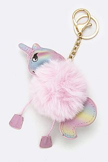 Soft Fur Unicorn Key Chain
