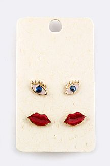 Iconic Eyes & Lips Stud Earrings Set