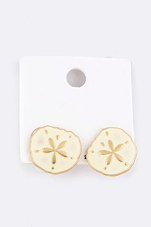 Sand Dollar Enamel Stud Earrings