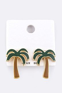 Palm Tree Enamel Stud Earrings