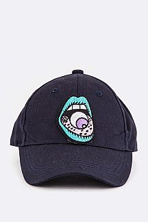 Eyeball Mouth Embroidery Cotton Cap