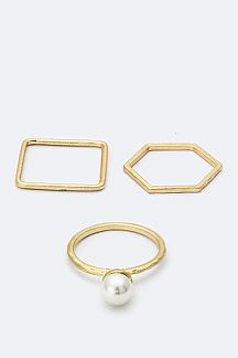 Pearl & Mix Shape Rings Set