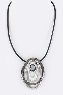 Mix Plated Freehand Teardrop Pendant Necklace