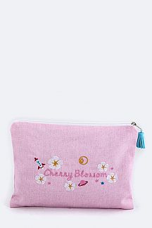 Cherry Blossom Embroidery Canvas Pouch
