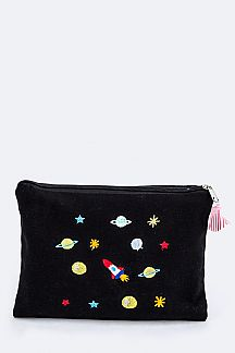 Space Embroidery Canvas Pouch