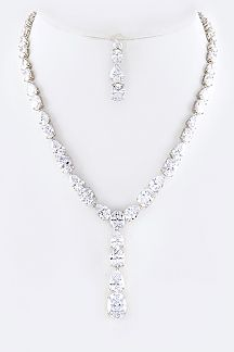 Cubic Zirconia Tear Drops Necklace Set