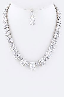 Cubic Zirconia Mix DropNecklace Set