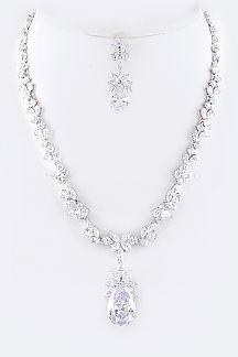 Cubic Zirconia Floral Teardrop Necklace Set